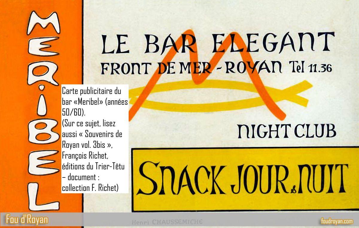 Carte publicitaire du bar «Meribel» de Royan (années 50/60)