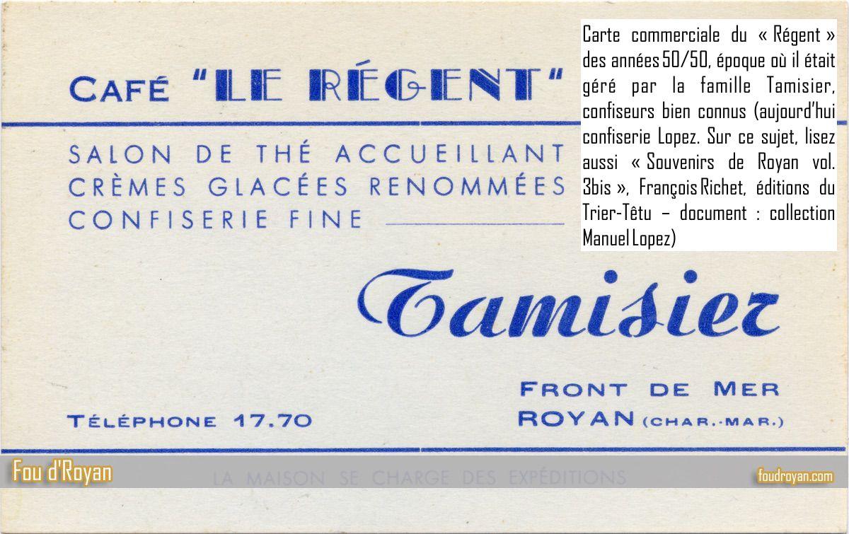 Carte commerciale du «Régent» des années 50/50